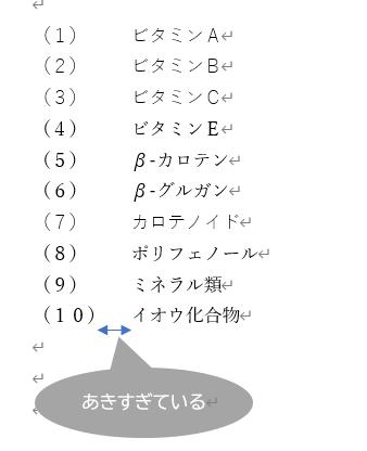 段落番号と文字列の間隔