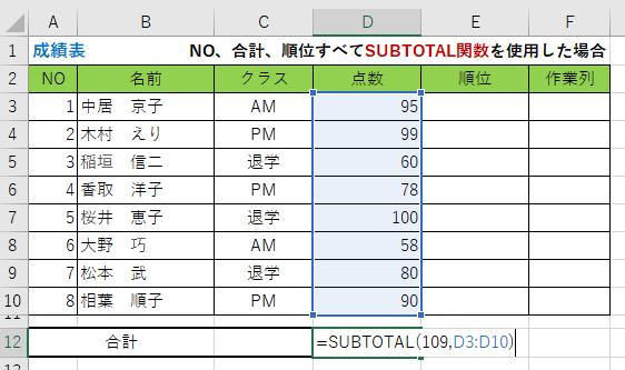 行非表示合計(Suntotal)
