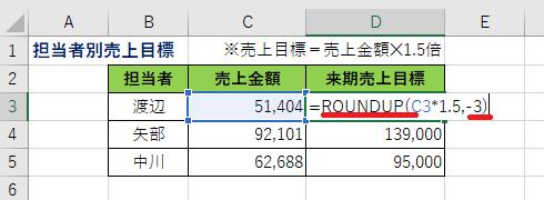 Excel ROUND/ROUNDUP関数