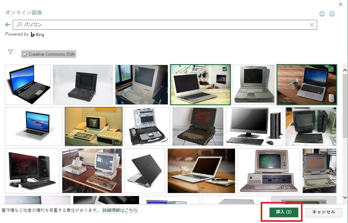 オンライン画像の挿入