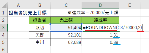ExcelRoundDOWN関数